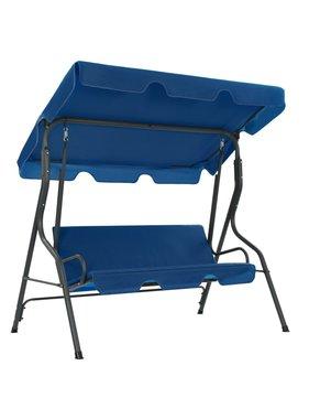 vidaXL Tuinschommelstoel 170x110x153 cm stof donkerblauw