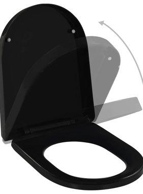 vidaXL Toiletbril soft-close met quick-release ontwerp zwart