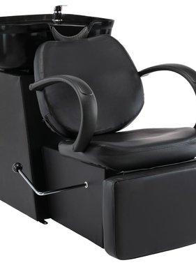 vidaXL Wasstoel met waskom kunstleer zwart