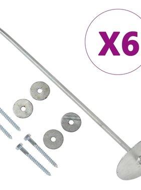 vidaXL Grondankers 6 st 10x60 cm gegalvaniseerd metaal