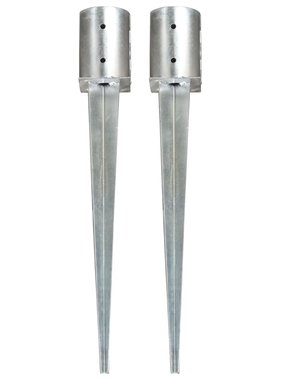 vidaXL Grondpinnen 2 st 10x76 cm gegalvaniseerd staal zilverkleurig