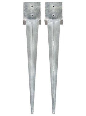 vidaXL Grondpinnen 2 st 14x14x91 cm gegalvaniseerd staal zilverkleurig