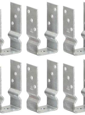 vidaXL Grondankers 6 st 7x6x15 cm gegalvaniseerd staal zilverkleurig