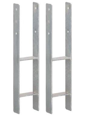vidaXL Grondankers 2 st 12x6x60 cm gegalvaniseerd staal zilverkleurig