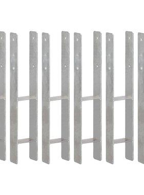 vidaXL Grondankers 6 st 10x6x60 cm gegalvaniseerd staal zilverkleurig