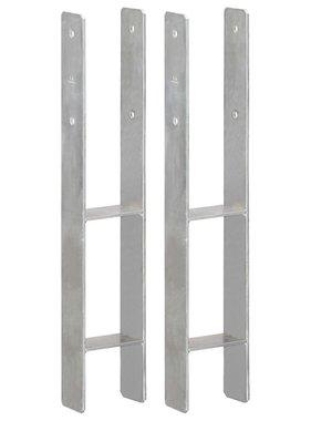 vidaXL Grondankers 2 st 10x6x60 cm gegalvaniseerd staal zilverkleurig