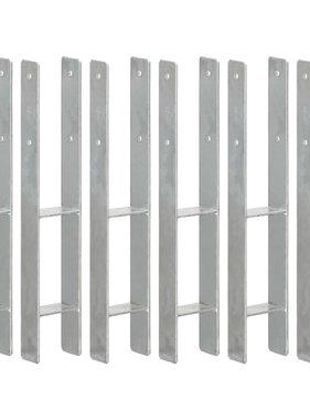 vidaXL Grondankers 6 st 9x6x60 cm gegalvaniseerd staal zilverkleurig