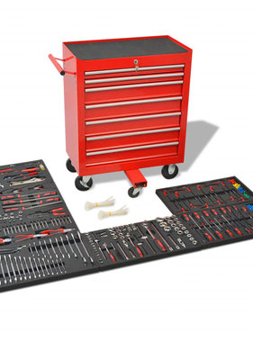 vidaXL Gereedschapswagen met 1125 gereedschappen staal rood