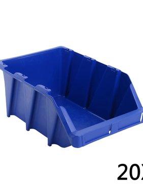 vidaXL Opbergbakken stapelbaar 265x420x178 mm blauw 20 st