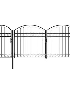 vidaXL Tuinpoort met gebogen bovenkant 2x4 m zwart