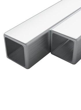 vidaXL Buizen vierkant stekkersectie V2A 2m 20x20x1,9mm rvs 2 st