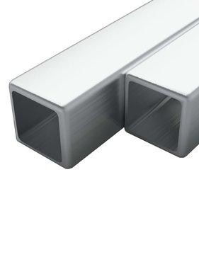 vidaXL Buizen vierkant stekkersectie V2A 1m 20x20x1,9mm rvs 2 st