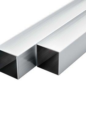 vidaXL Kokerbuizen vierkant 2m 30x30x2 mm aluminium 6 st