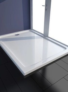 vidaXL Douchebak rechthoekig ABS wit 80 x 110 cm