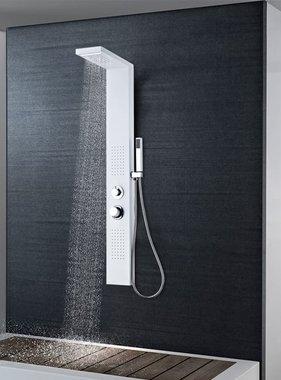 vidaXL Douche paneelsysteem aluminium mat wit