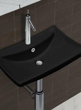 vidaXL Wastafel met overloop en kraangat zwart rechthoekig keramiek