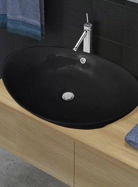 vidaXL Wastafel met overloop zwart ovaal keramiek 59 x 38,5 cm
