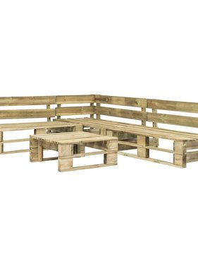 vidaXL 4-delige Loungeset pallet FSC hout groen