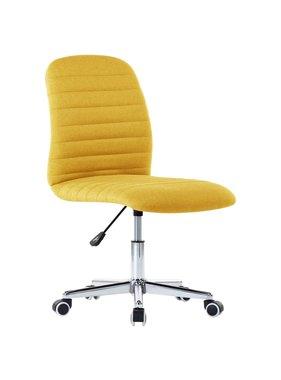 vidaXL Kantoorstoel draaibaar stof mosterdgeel