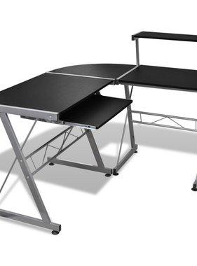 vidaXL Computer bureau met uitschuifbaar toetsenbordblad zwart