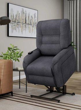 vidaXL Massagefauteuil elektrisch sta-op-stoel stof donkergrijs