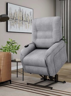 vidaXL Massagefauteuil elektrisch sta-op-stoel stof lichtgrijs
