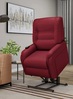vidaXL Massagefauteuil elektrisch sta-op-stoel kunstleer wijnrood