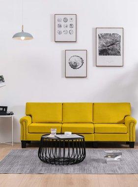 vidaXL Driezitsbank stof geel