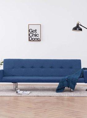 vidaXL Slaapbank met armleuning polyester blauw