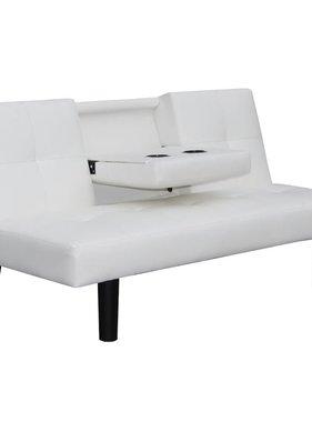 vidaXL Slaapbank met uitklaptafel namaakleer wit