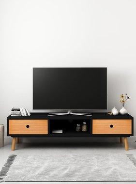 vidaXL Tv-meubel 120x35x35 cm massief grenenhout zwart