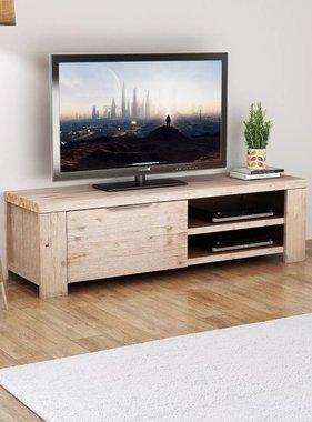 vidaXL Tv-meubel massief geborsteld acaciahout 140x38x40 cm