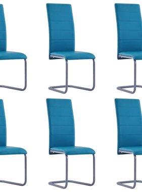 vidaXL Eetkamerstoelen 6 st kunstleer blauw