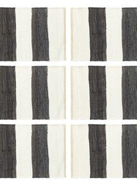 vidaXL Placemats 6 st chindi gestreept 30x45 cm antraciet en wit