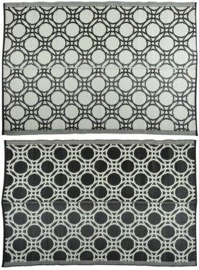 vidaXL Buitenkleed cirkels 174x121 cm zwart en wit OC17