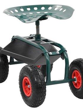 vidaXL Tuinwagen met gereedschapsbak 78x44,5x84 cm groen