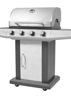 vidaXL Gasbarbecue en grill 4+1 kookzone zwart en zilver