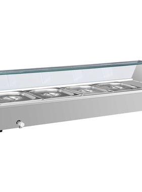 vidaXL Voedselwarmer bain-marie met 4 schalen GN 1/2 roestvrij staal