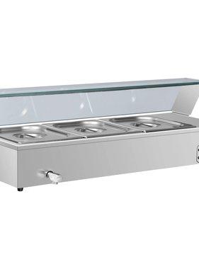 vidaXL Voedselwarmer bain-marie met 3 schalen GN 1/2 roestvrij staal