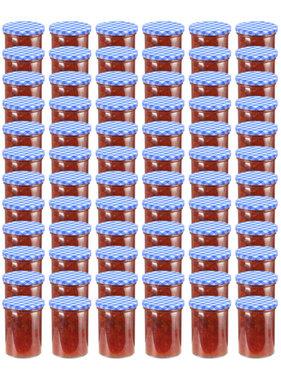vidaXL Jampotten met wit met blauwe deksels 96 st 400 ml glas