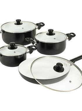 vidaXL 8-delige Kookgereiset aluminium zwart