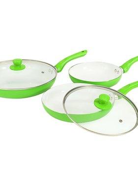 vidaXL 5-delige Koekenpannenset aluminium groen