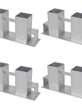 vidaXL Brandhout stapelhulpen 4 st staal zilverkleurig