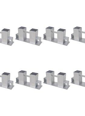 vidaXL Brandhout stapelhulpen 8 st staal zilverkleurig