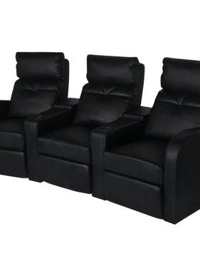 vidaXL Driedubbele relaxfauteuil met middenleuning kunstleer zwart