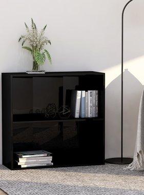 vidaXL Boekenkast 2 schappen 80x30x76,5 cm spaanplaat hoogglans zwart