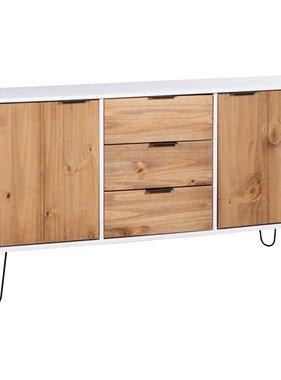 vidaXL Dressoir New York Range massief grenenhout wit lichthoutkleurig