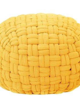 vidaXL Poef gevlochten ontwerp 50x35 cm katoen mosterdgeel