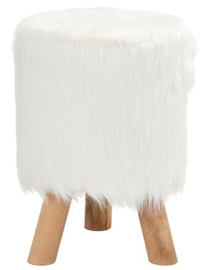 vidaXL Kruk rond 28x40 cm kunstbont wit