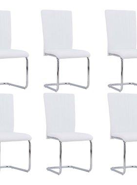 vidaXL Eetkamerstoelen 6 st kunstleer wit